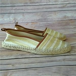 Kate Spade gold and cream espadrille slip on shoes